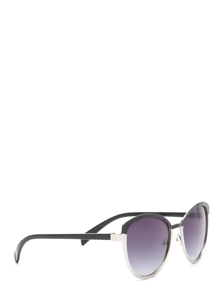 Around The Colorblock Rounded Sunglasses BLACKSILVER