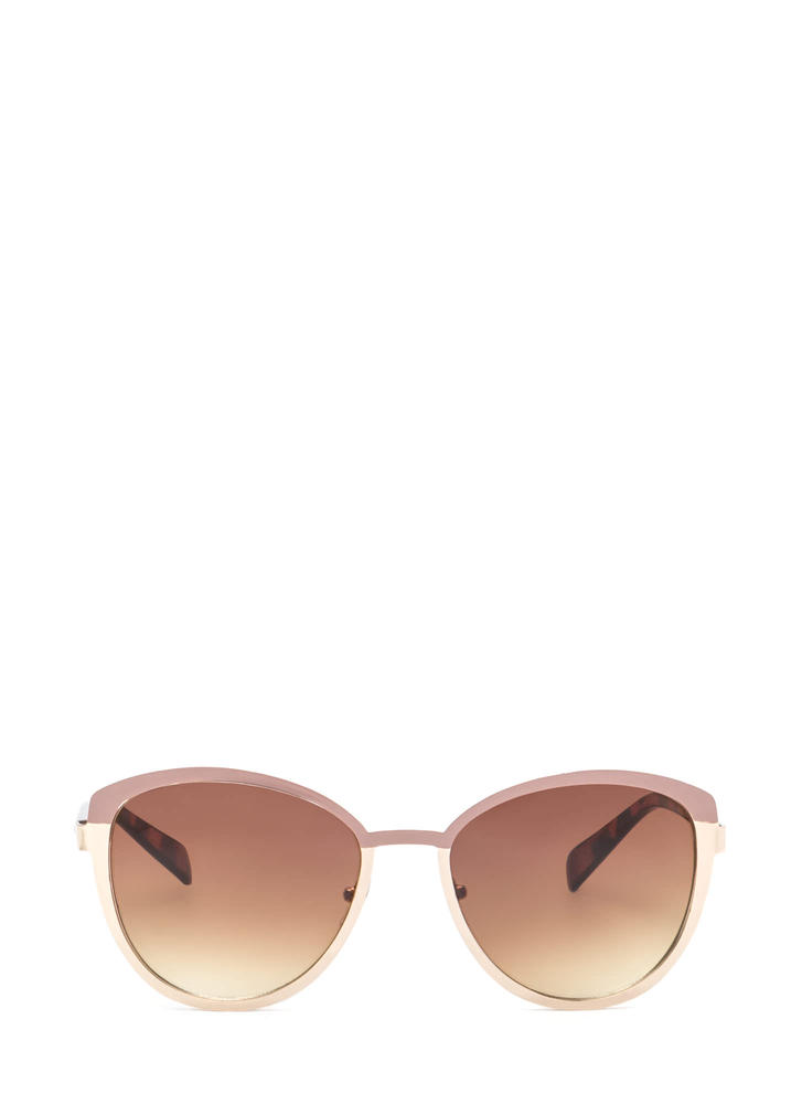 Around The Colorblock Rounded Sunglasses MAUVEGOLD