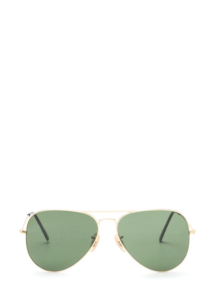 Classic Touch Aviator Sunglasses GREENGOLD