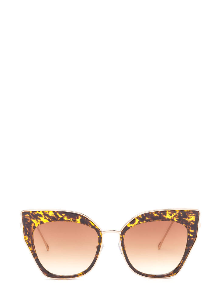 Retro Party Cat-Eye Sunglasses BROWNGOLD