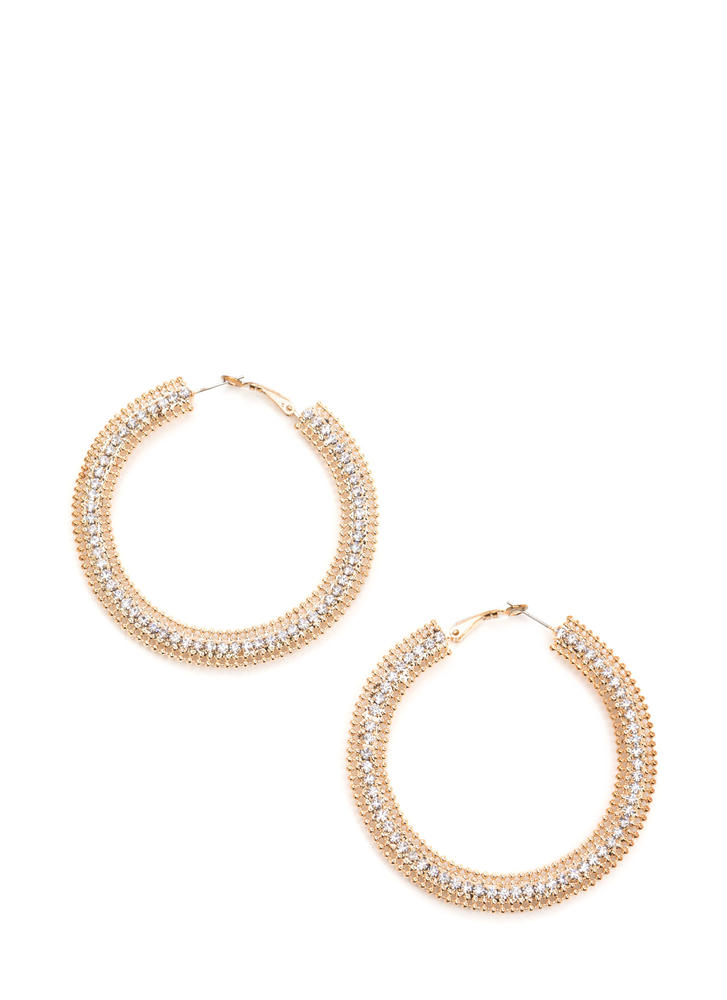 You Stud Rhinestone Hoop Earrings
