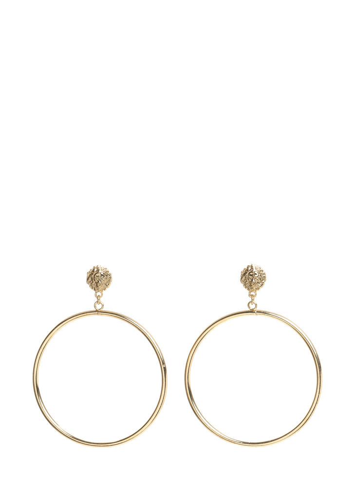 Queen Lion Head Hoop Earrings GOLD