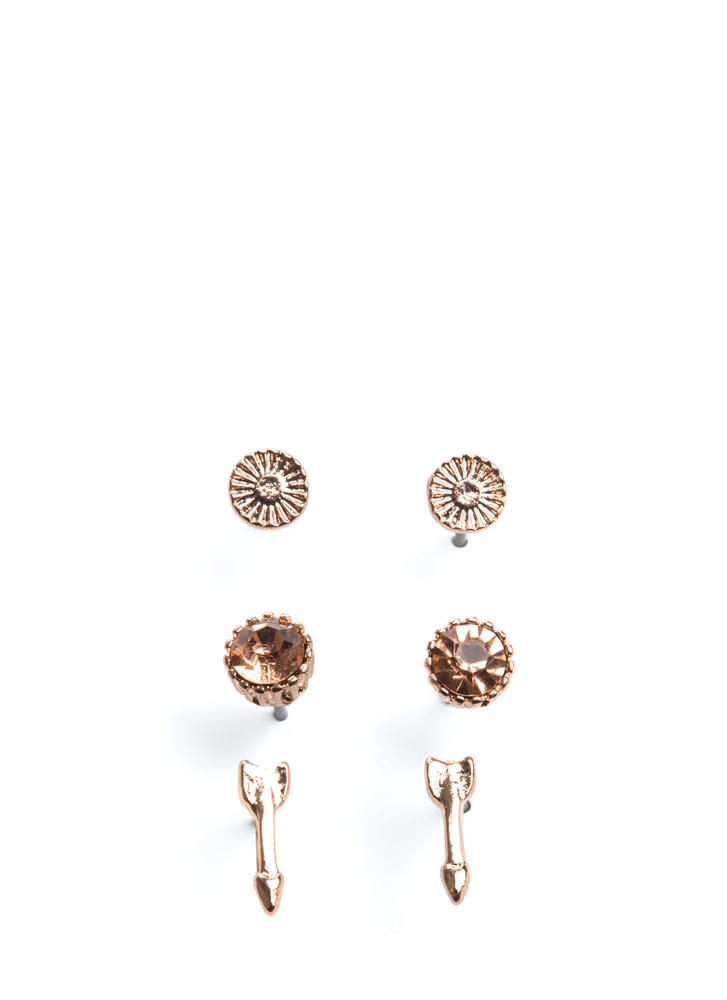 The Little Things Arrow Earring Set ROSEGOLD