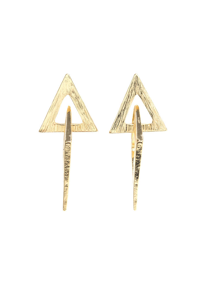 Diamond In The Cut-Out Triangle Earrings