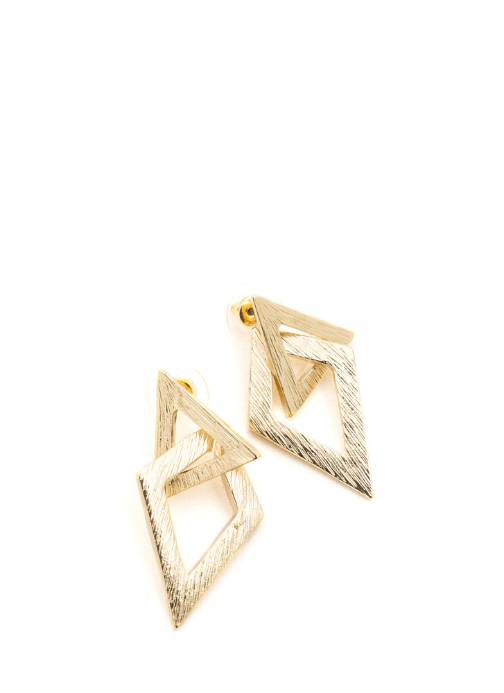 Diamond In The Cut-Out Triangle Earrings GOLD