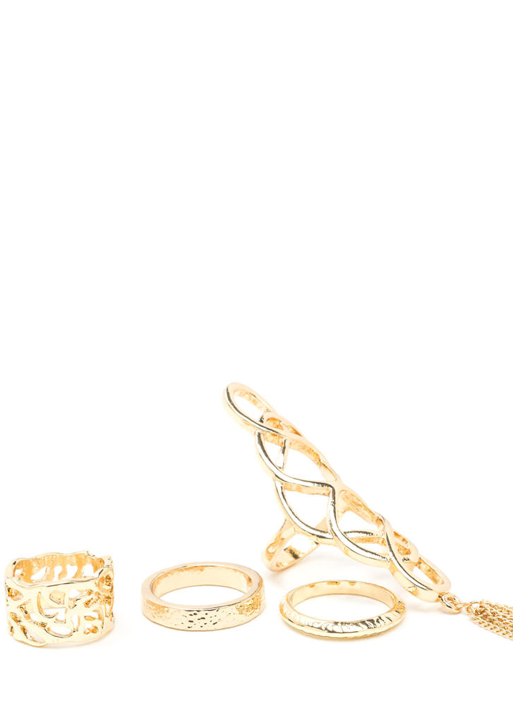 Four The Win Tasseled Cut-Out Ring Set GOLD
