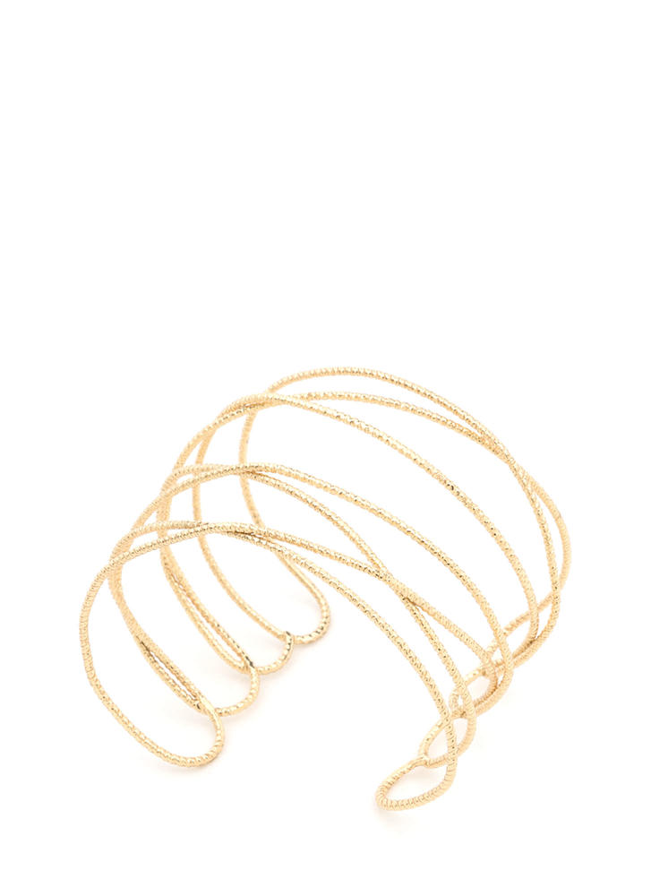 I Love Loopy Twisted Wire Cuff GOLD