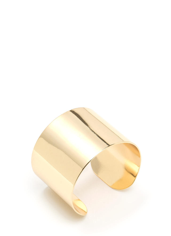 Brace Yourselves Chunky Metal Cuff GOLD