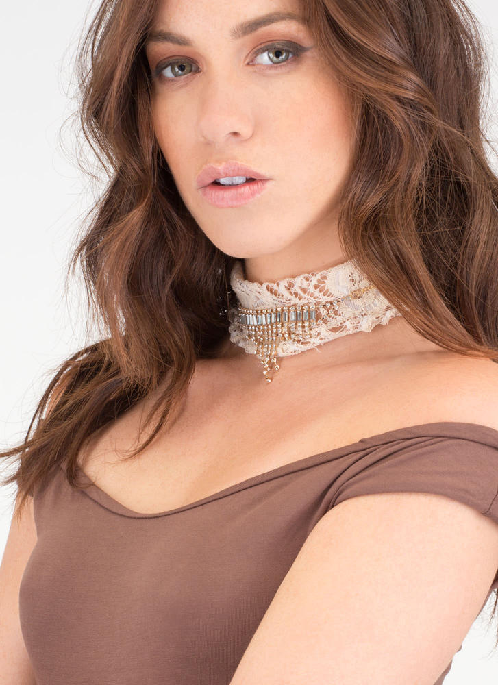 Gatsby Girl Jeweled Lace Choker