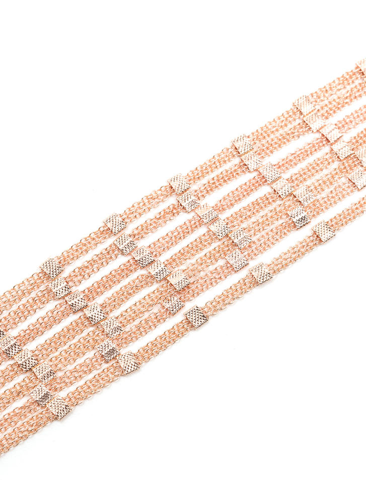 Squared Off Layered Chain Choker ROSEGOLD