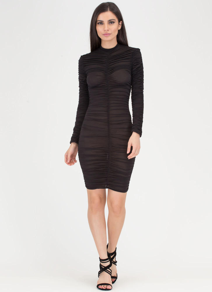 Ruched Into It Semi-Sheer Midi Dress