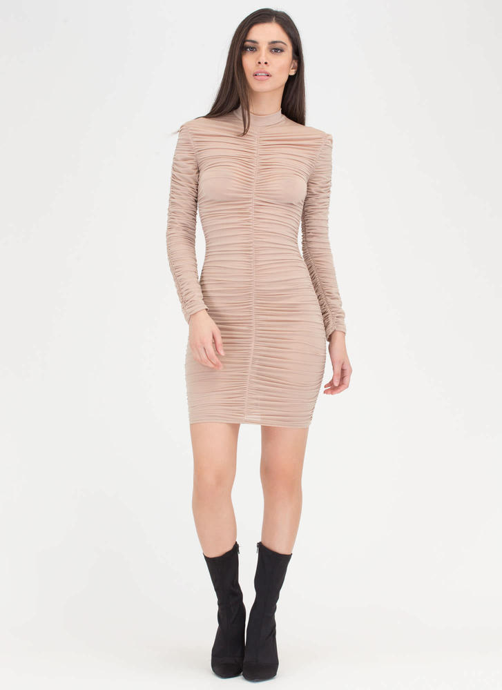 Ruched Into It Semi-Sheer Midi Dress NUDE