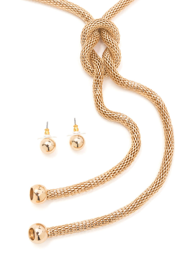 Knot Your Typical Chain Necklace Set GOLD