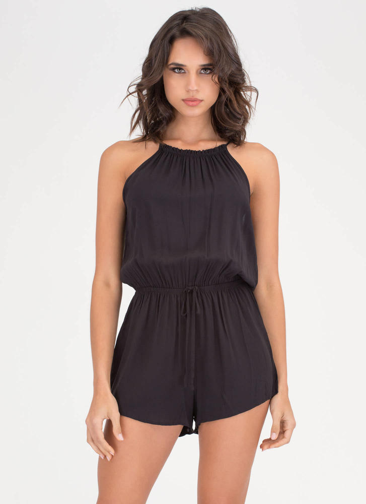 Play Date Sleeveless Cinched Romper BLACK
