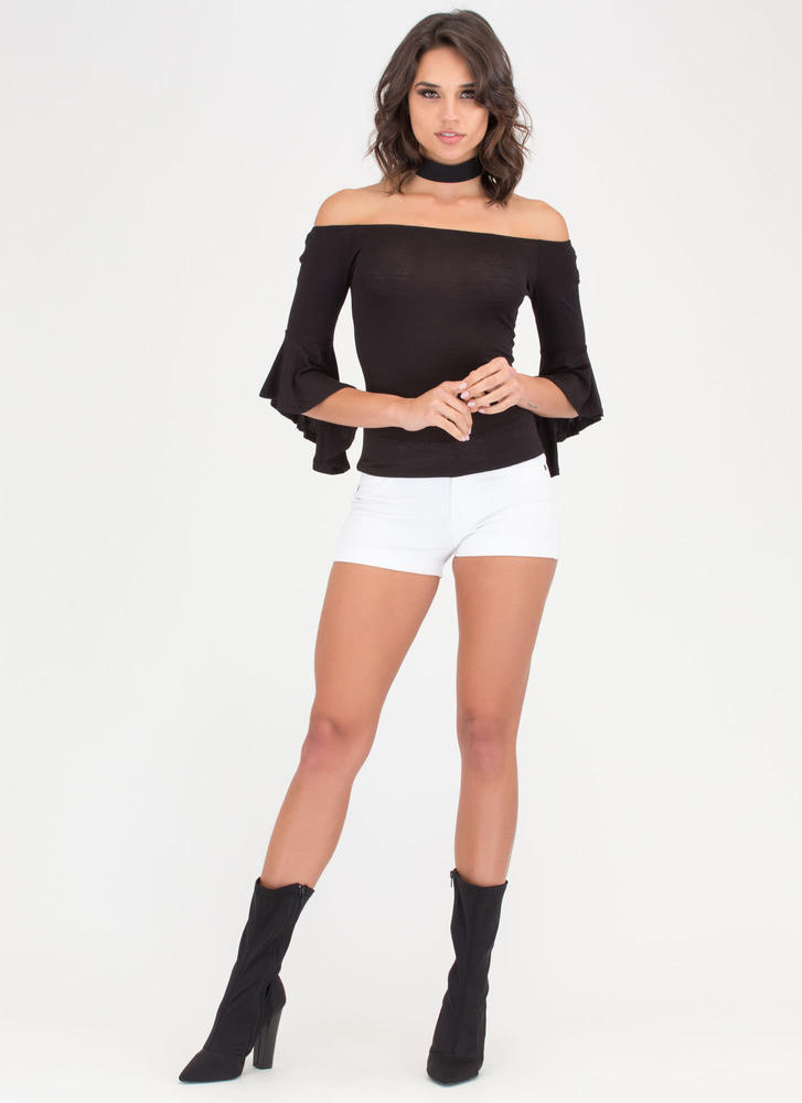 Bell Yes Ruffle Sleeve Off-Shoulder Top BLACK