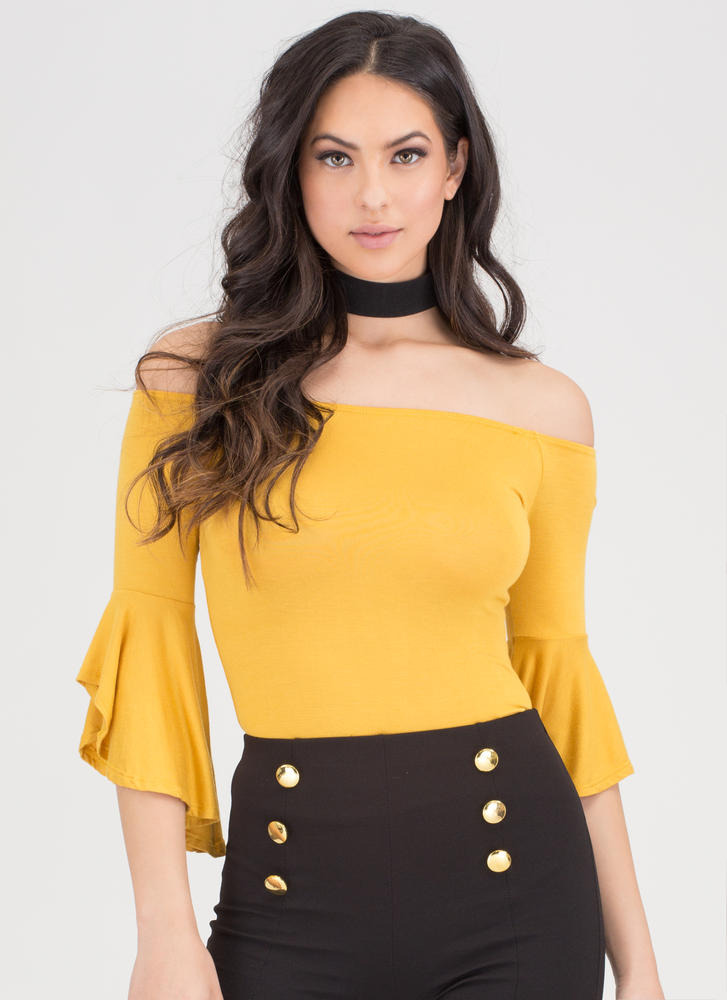 Bell Yes Ruffle Sleeve Off-Shoulder Top MUSTARD