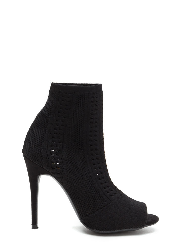Knit Pick Peep-Toe Stiletto Booties BLACK