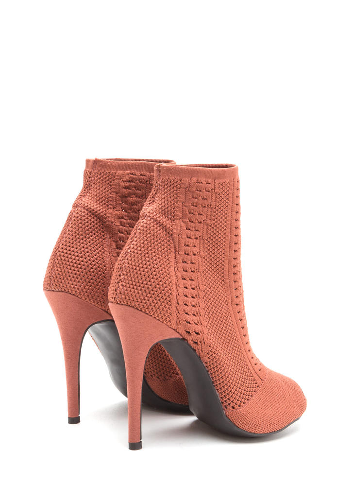 Knit Pick Peep-Toe Stiletto Booties MAUVE