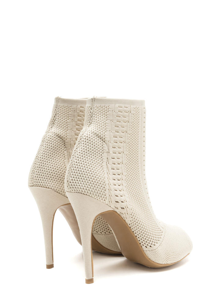 Knit Pick Peep-Toe Stiletto Booties NUDE