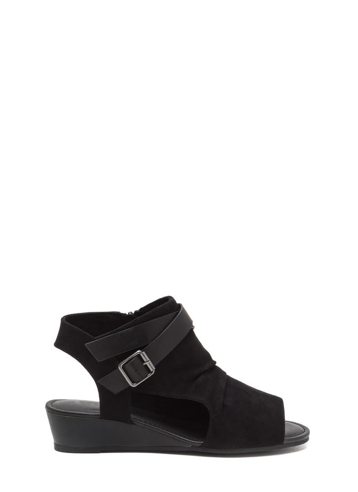 Good Coverage Faux Suede Wedge Sandals BLACK