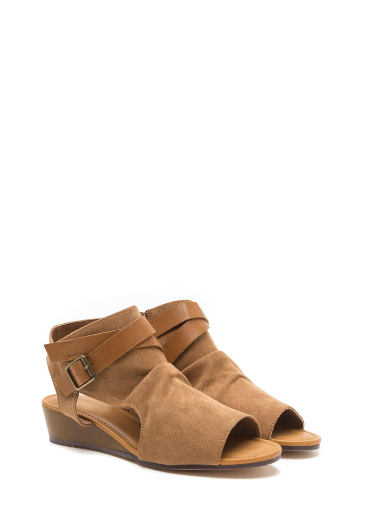 Good Coverage Faux Suede Wedge Sandals TAN