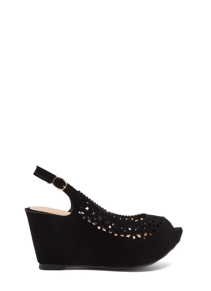 A Jewel Cut-Out Faux Nubuck Wedges