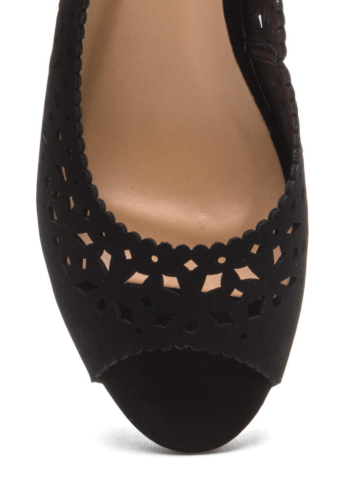 A Jewel Cut-Out Faux Nubuck Wedges BLACK