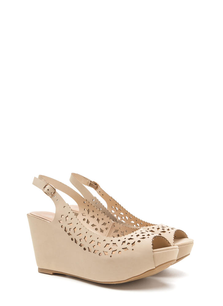 A Jewel Cut-Out Faux Nubuck Wedges NUDE