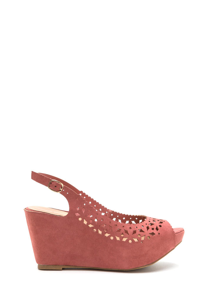 A Jewel Cut-Out Faux Suede Wedges