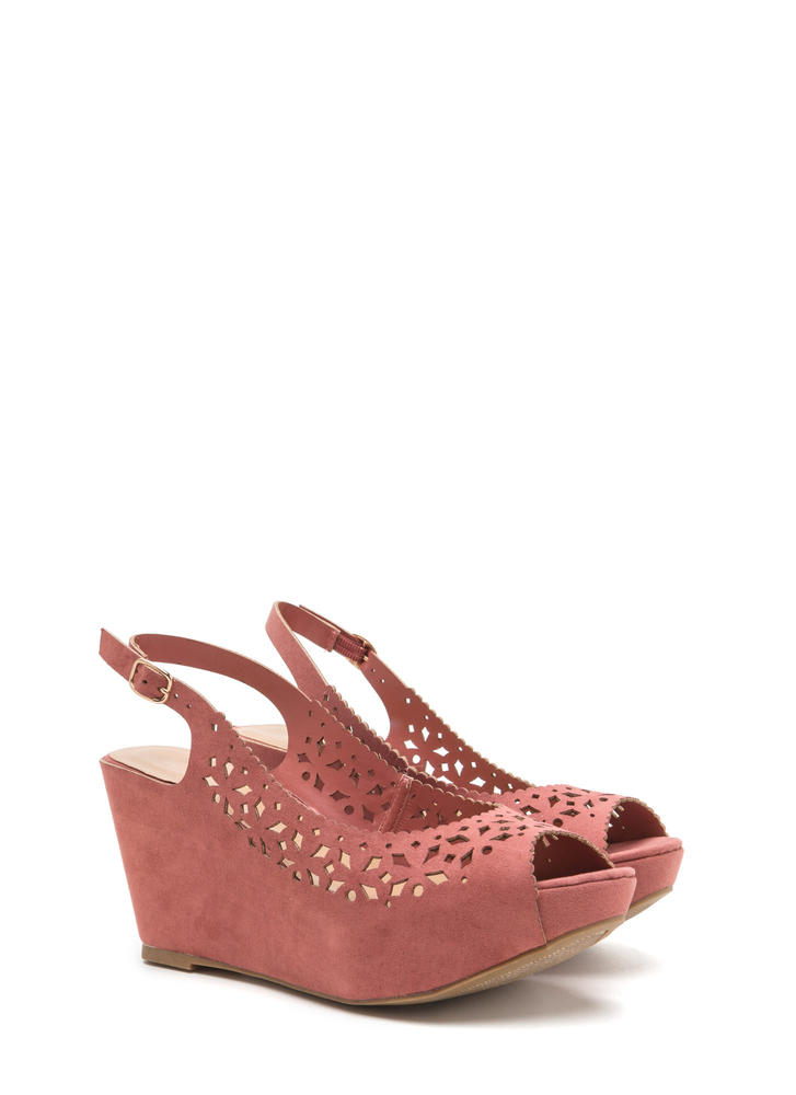 A Jewel Cut-Out Faux Suede Wedges DKMAUVE