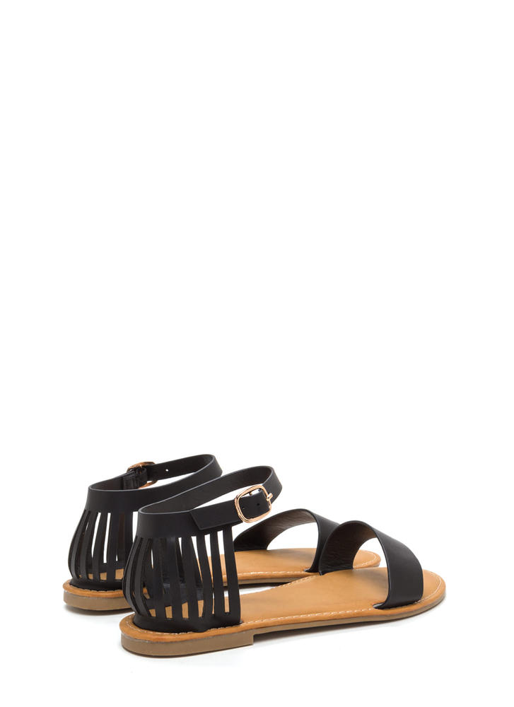 Behind Bars Cut-Out Faux Leather Sandals BLACK