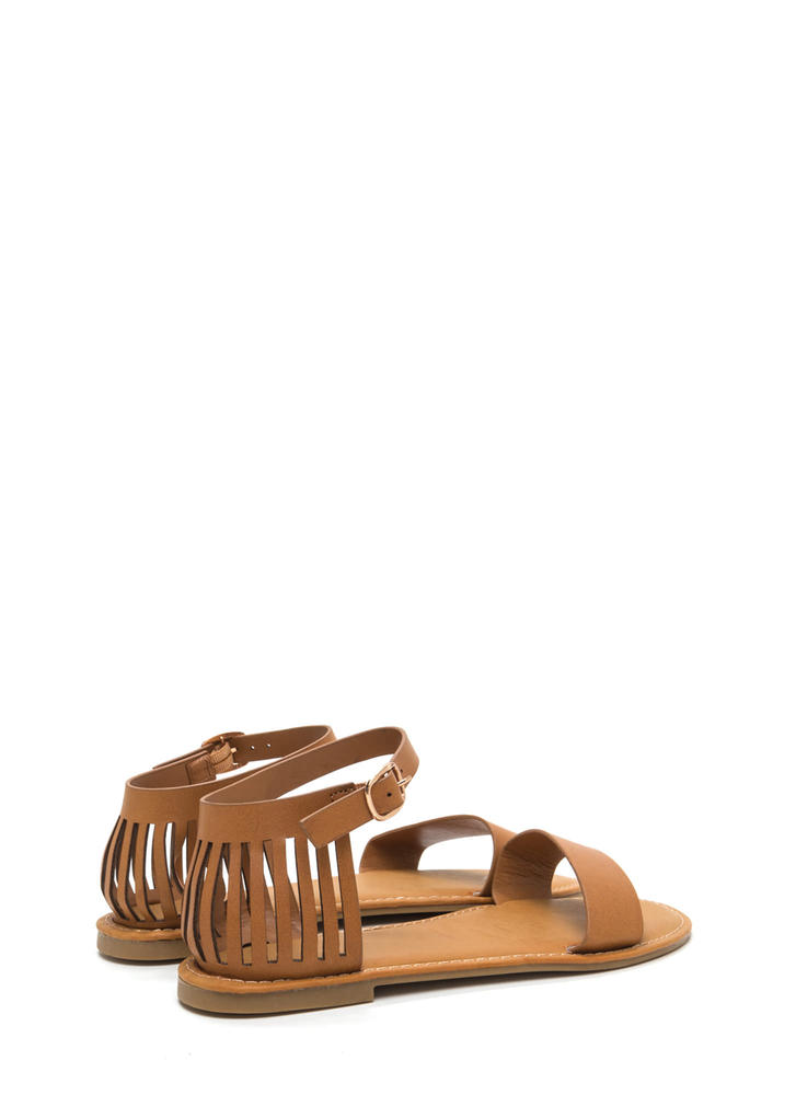 Behind Bars Cut-Out Faux Leather Sandals TAN