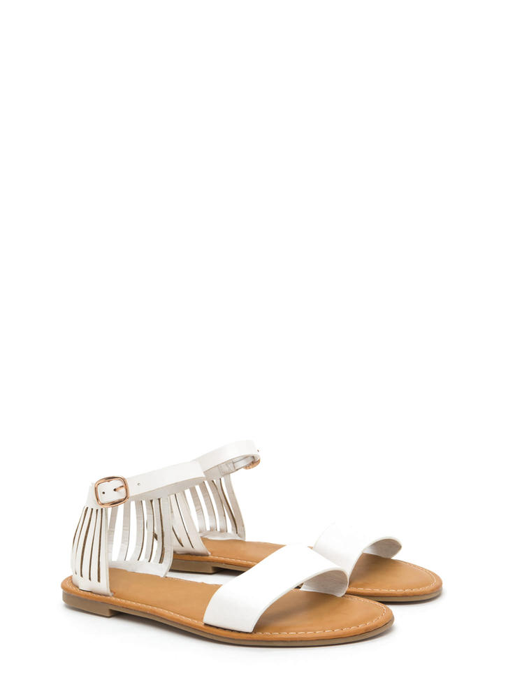Behind Bars Cut-Out Faux Leather Sandals WHITE