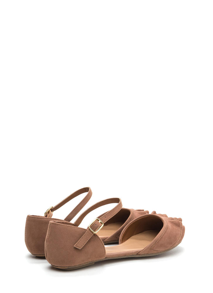 Frill Seeker Ruffled Ankle Strap Flats CAMEL