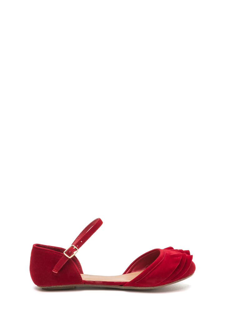 Frill Seeker Ruffled Ankle Strap Flats RED