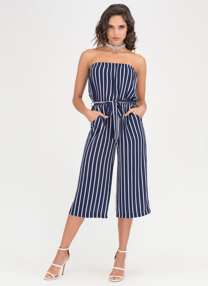 Stripe For The Best Culotte Jumpsuit