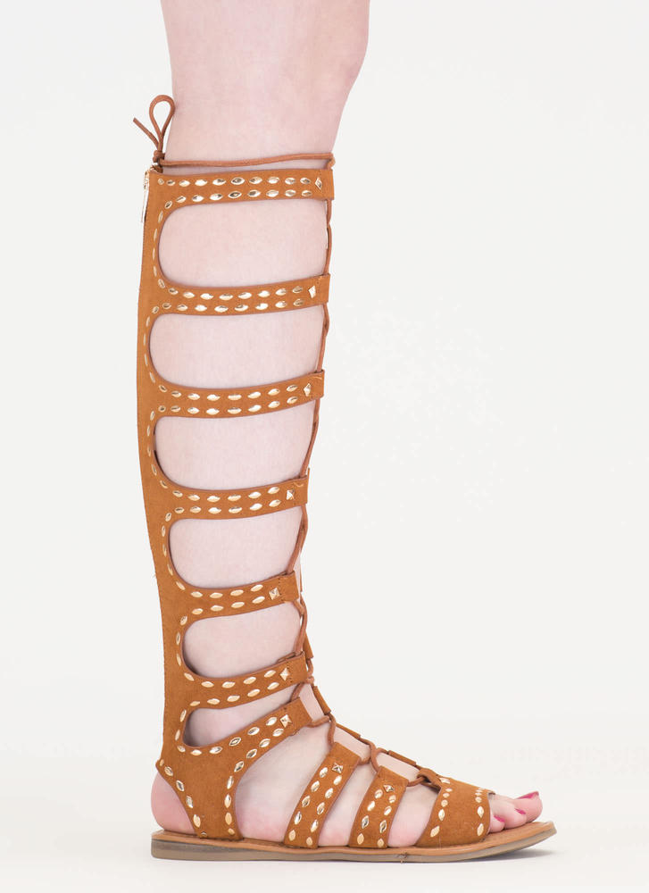 Studs And Straps Laced Gladiator Sandals CHESTNUT