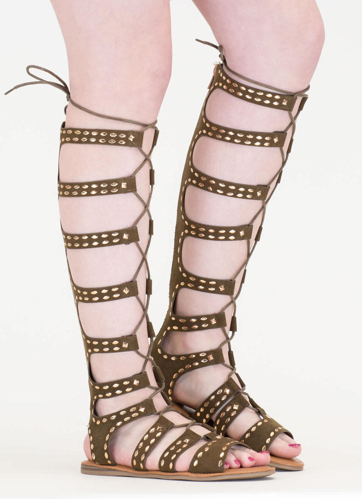 Studs And Straps Laced Gladiator Sandals