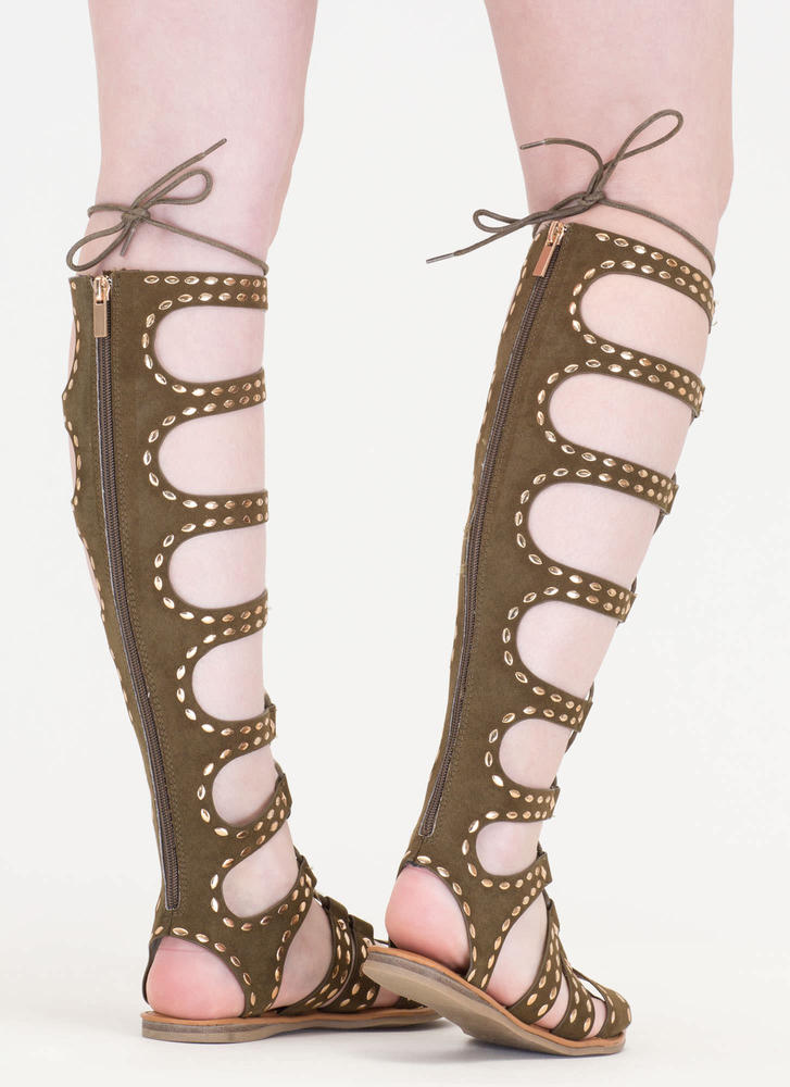 Studs And Straps Laced Gladiator Sandals OLIVE