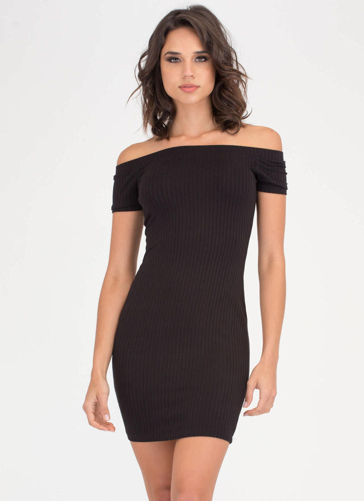 Easy Choice Ribbed Off-Shoulder Dress