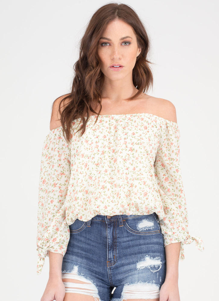Garden Girl Off-Shoulder Peasant Blouse IVORY