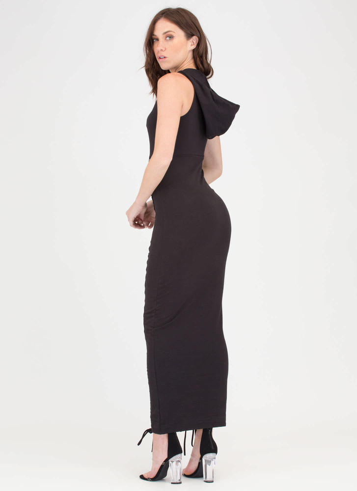 Double Decker Hooded Lace-Up Maxi BLACK
