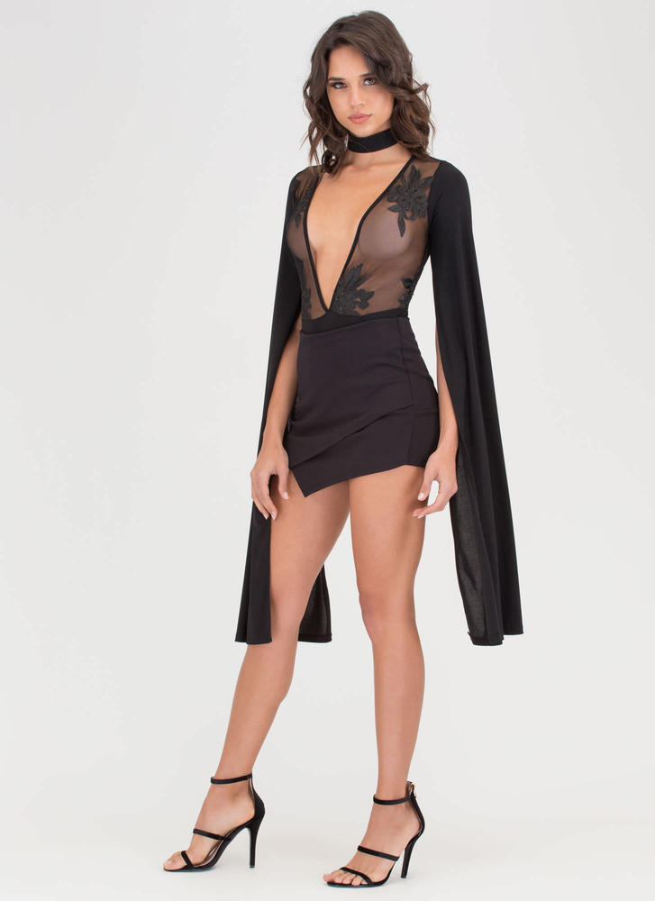 Long Story Sheer Cape Sleeve Bodysuit BLACK