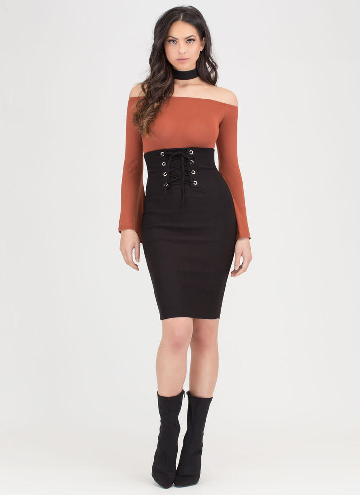 Due Corset High-Waisted Lace-Up Skirt