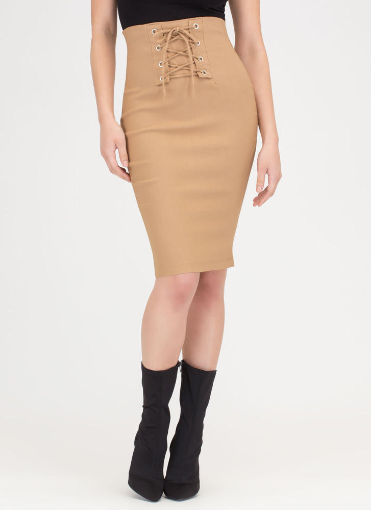 Due Corset High-Waisted Lace-Up Skirt CAMEL