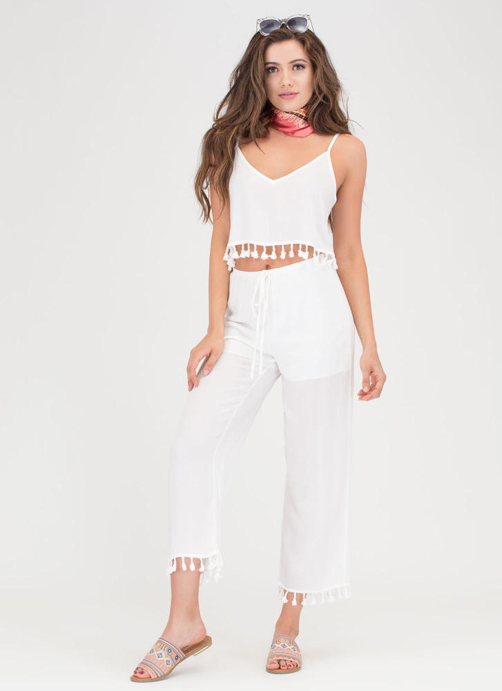 Tassel Time Crop Top And Pant Set WHITE