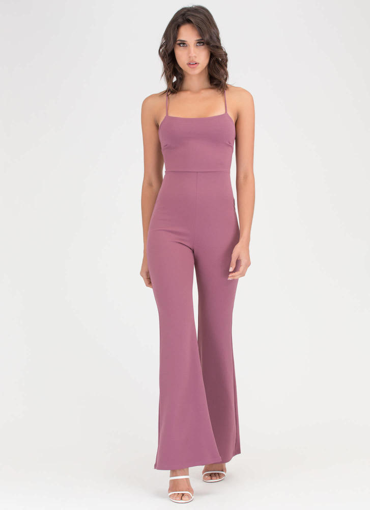 Cross Back Over Flared Leg Jumpsuit DKMAUVE