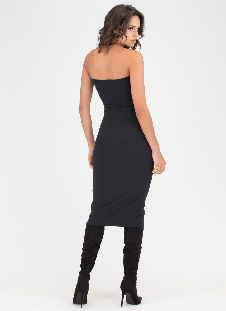 Riding The Tube Strapless Midi Dress BLACK