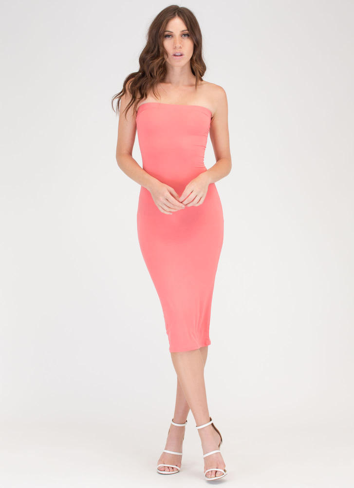 Riding The Tube Strapless Midi Dress CORAL