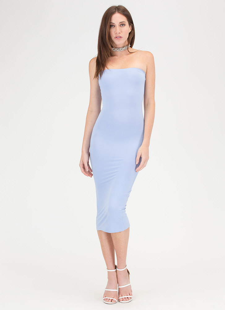 Riding The Tube Strapless Midi Dress LTBLUE